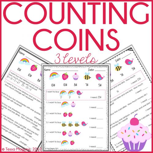 Differentiated counting coins worksheets