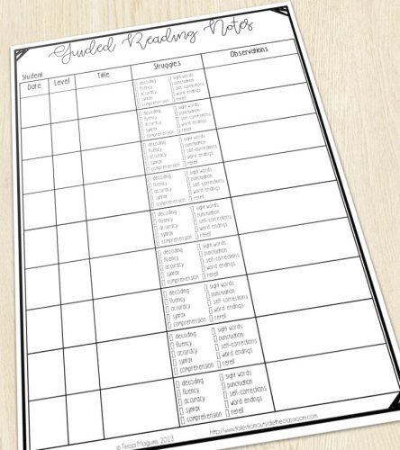 Guided reading checklist and notes