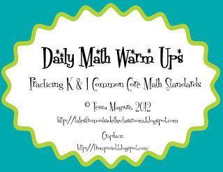 1st Grade Math Warm Ups- Set 2