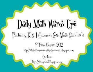 1st Grade Math Warm Ups- Set 2