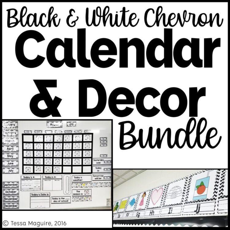 Black & White Chevron Classroom Calendar and Classroom Decor bundle