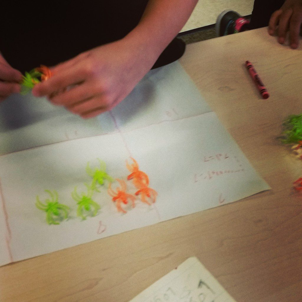 Use spider rings as manipulatives for students to figure out what multiplication represents.