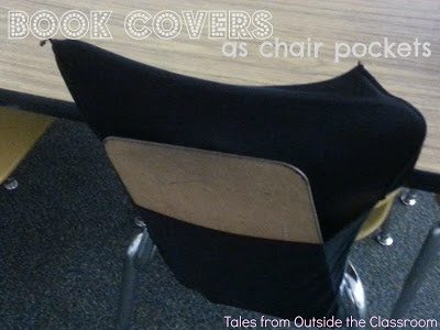 Book Covers as Chair Pockets- My take on the Pinterest sensation