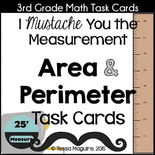 Mustache You the Measurement Area and Perimeter Task Cards