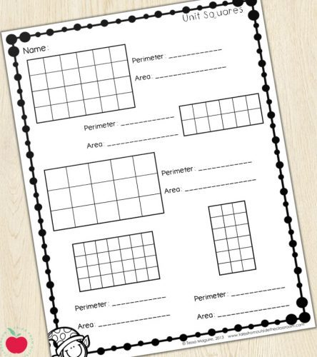 Unit squares worksheet