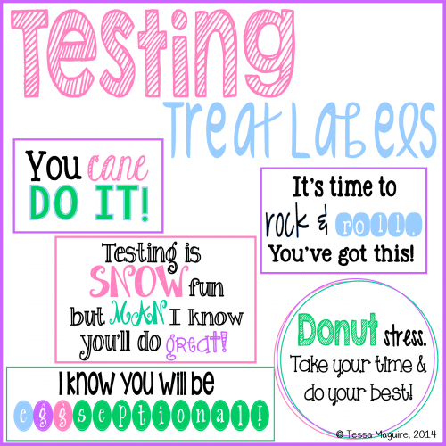 Free testing treat labels to encourage kids.