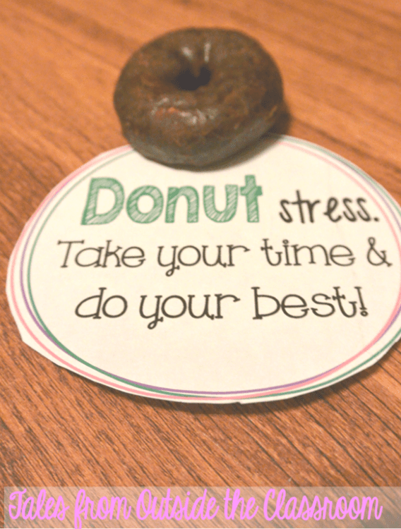 Use a donut and a witty saying to pump kids up for state testing.