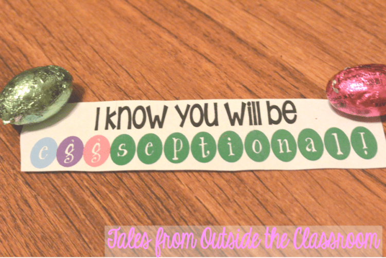Use candy and cute tags to give kids a boost before state testing.