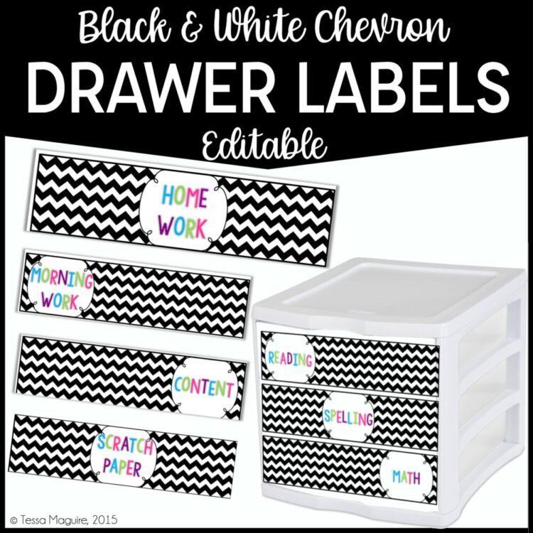 Black and White Chevron Drawer Labels