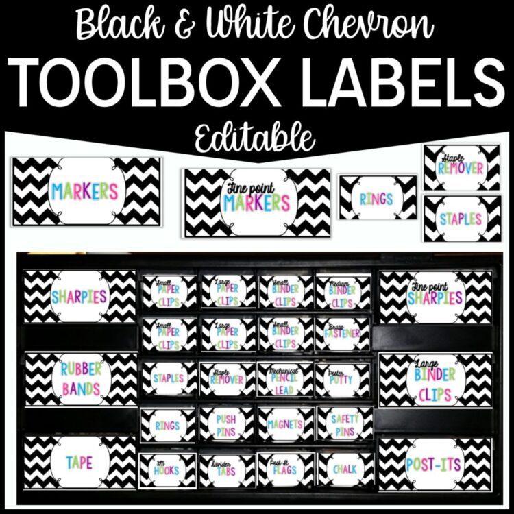 Black & White Teacher Toolbox Labels