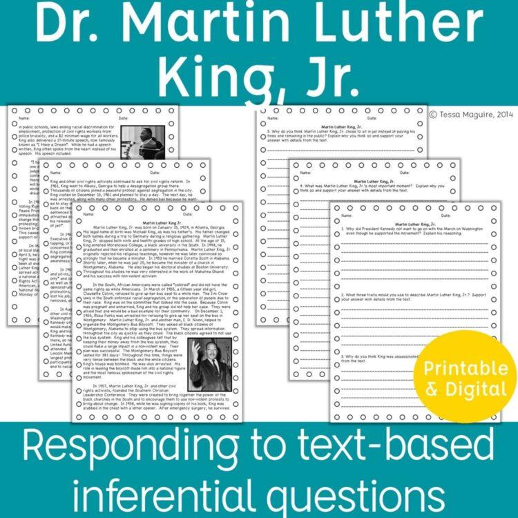 MLK Jr. comprehension product cover