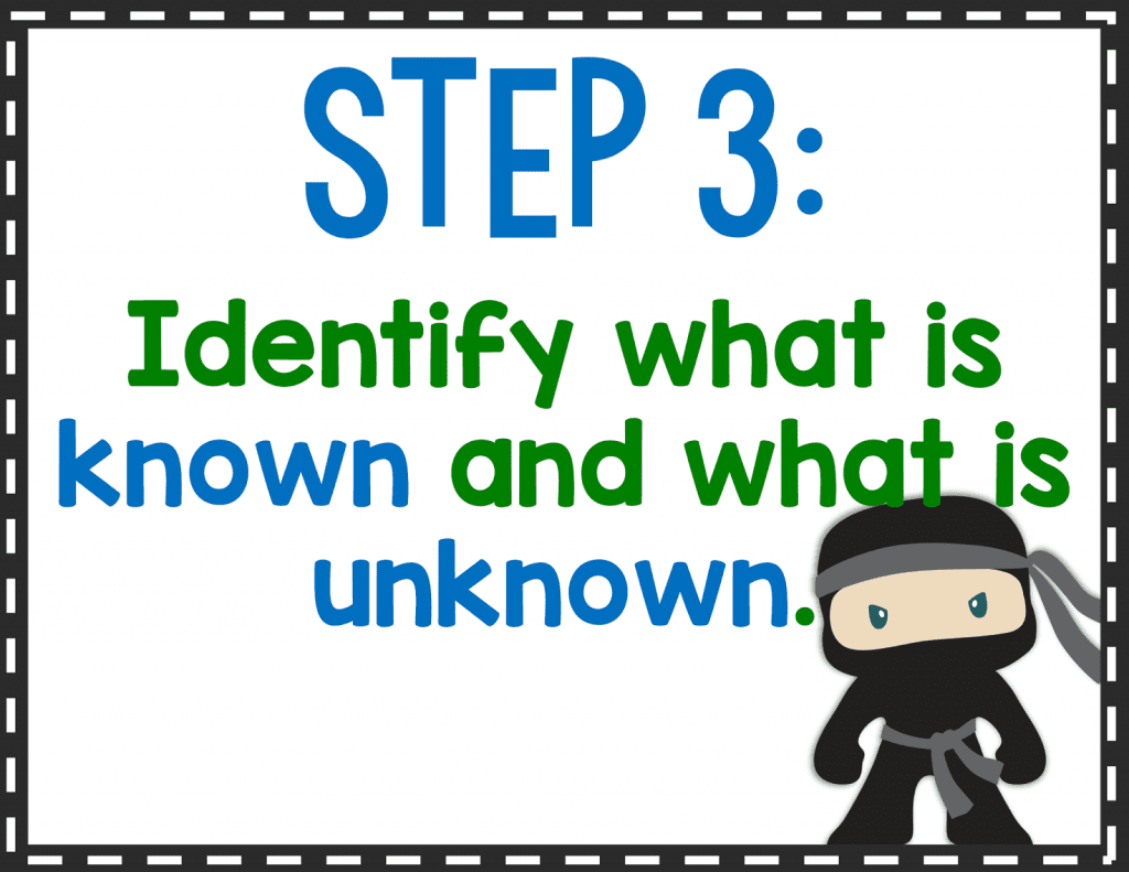 Step 3: Identify what is known and what is unknown