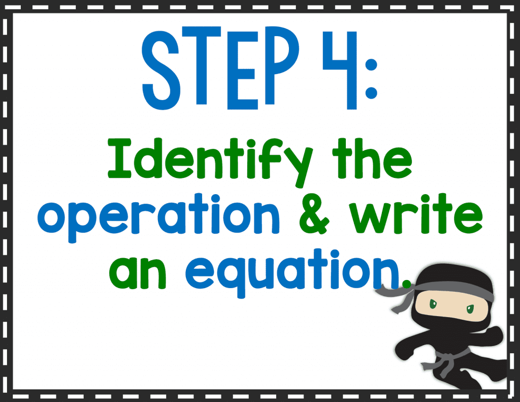 Step 4: Identify the operation & write an equation.