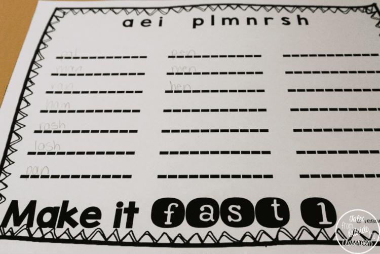 Make it Fast independent word work center