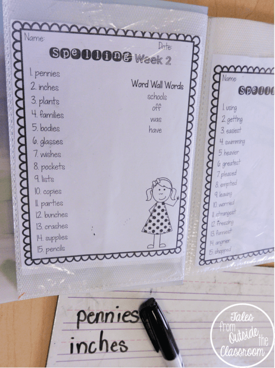 Spelling Lists in Photo Albums