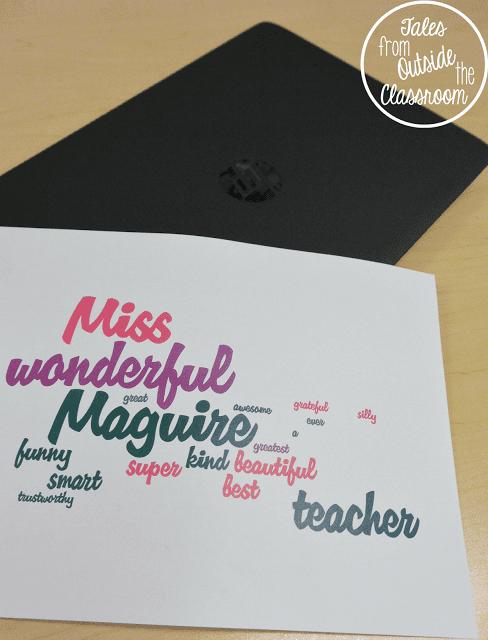 Student created wordle for teacher