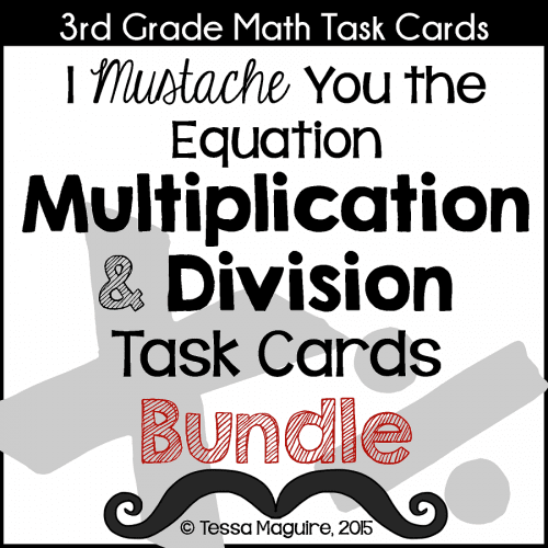 Multiplication and Division task cards bundle cover