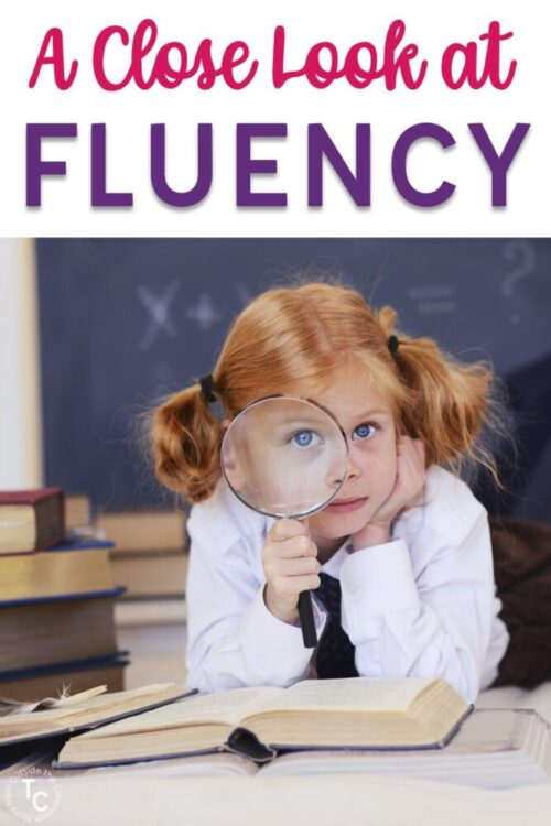 A Close Look at Fluency- girl with a magnifying glass