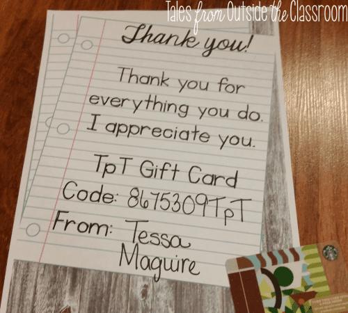 TpT Gift card free printable