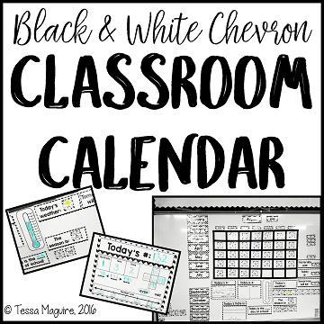 Black and White Chevron Classroom Calendar