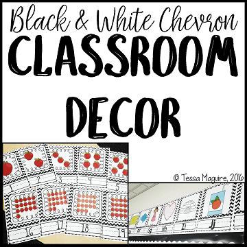 Black and White Chevron Classroom Decor
