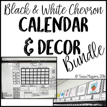 Black and White Chevron Classroom Calendar and Decor
