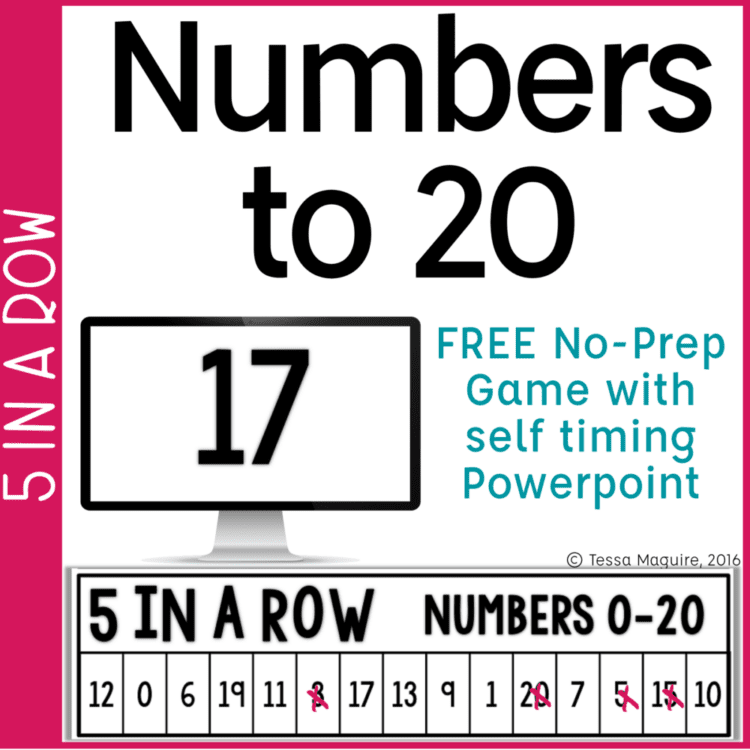 Number recognition to 20 game 5 in a row cover