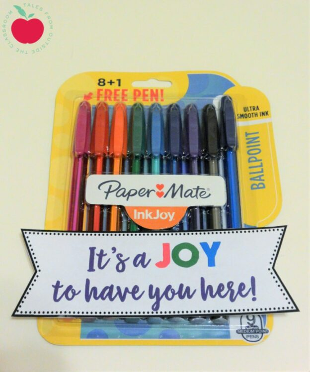 InkJoy pens gift tag for welcoming new teachers and staff members
