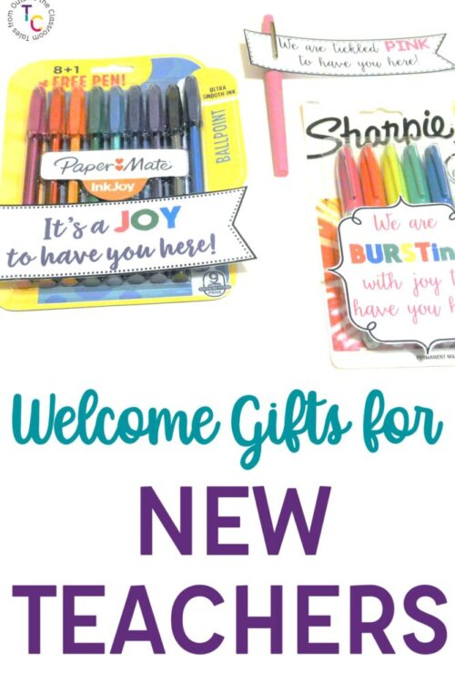 Welcome Gifts for New Teachers with pens and cute sayings