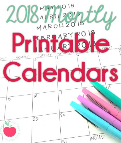 2018 Monthly Printable Calendars