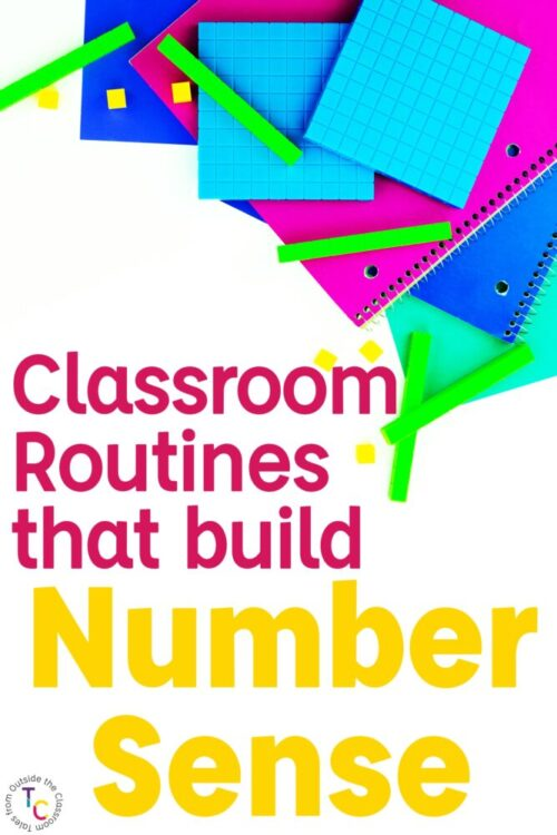 base ten blocks image with classroom routines that build number sense text