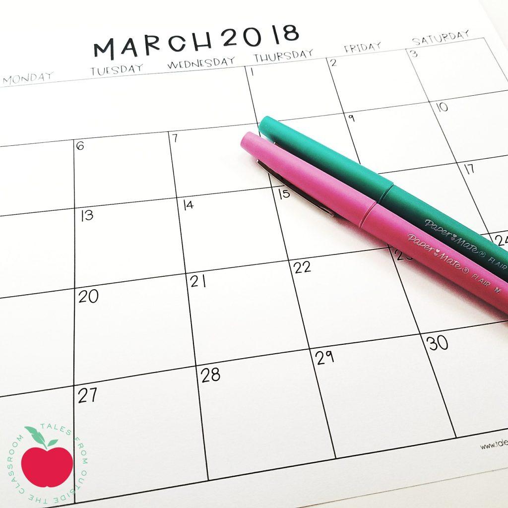 March 2018 Printable Calendar