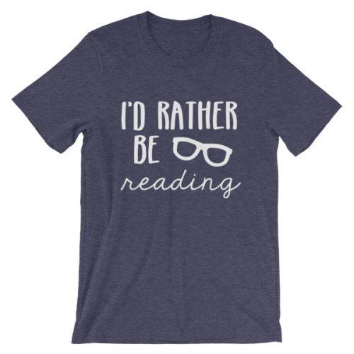 I'd Rather be Reading tee heather midnight navy