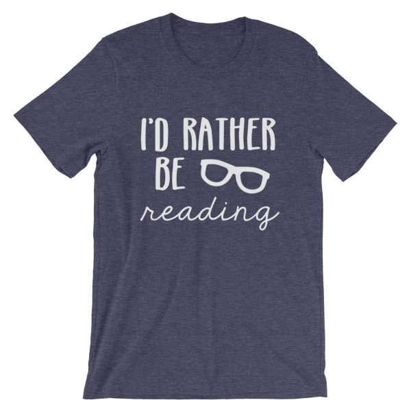 I'd Rather be Reading tee heather midnight navy