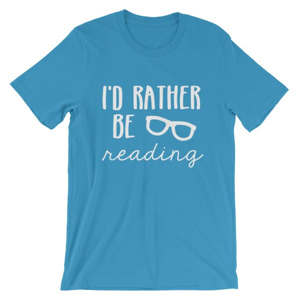 I'd Rather be Reading tee ocean blue
