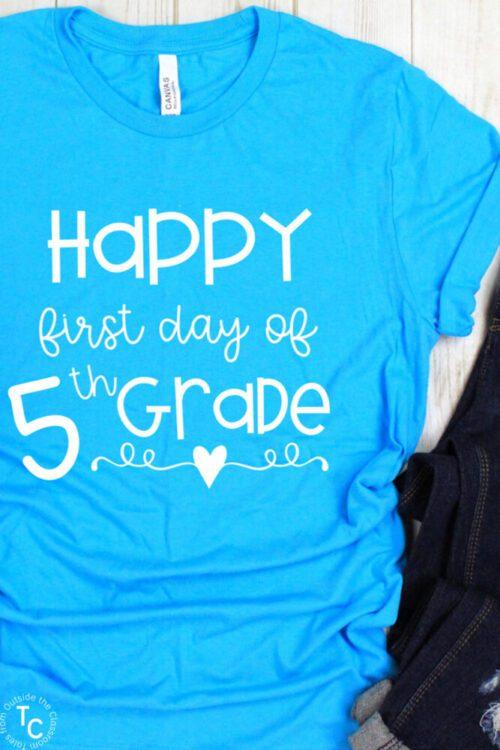 Aqua blue Happy First Day of 5th Grade tee