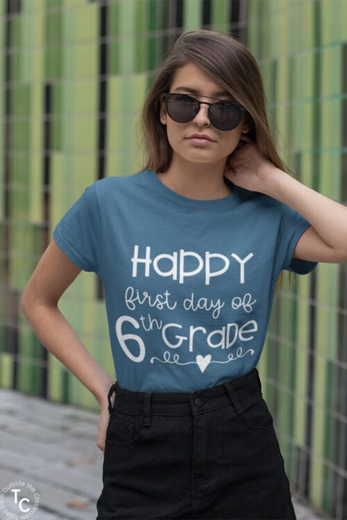 First Day of 6th Grade steel blue tee on model