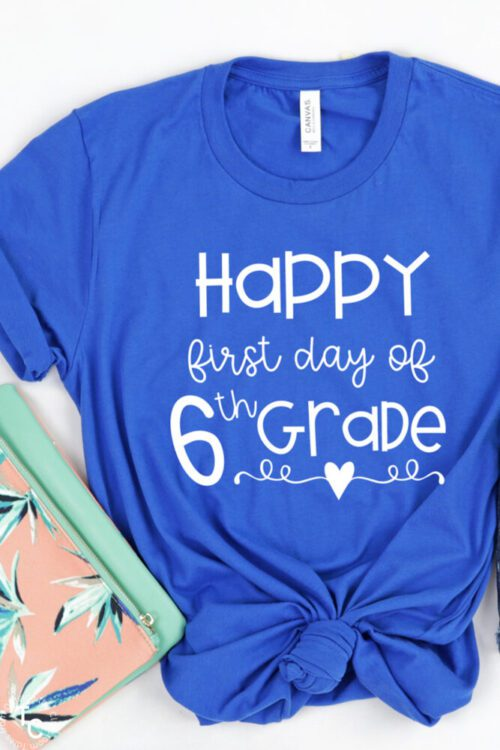 First Day of 6th Grade tee in blue