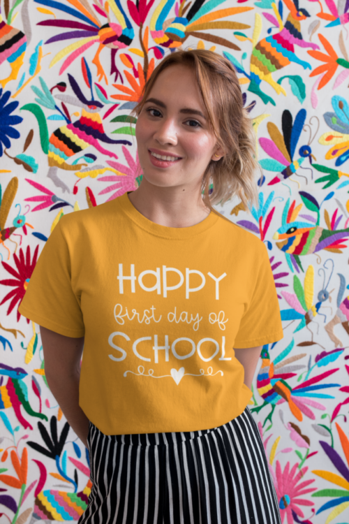 Happy First Day of School teacher tee in Gold