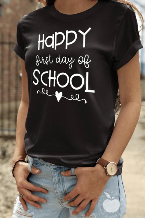 First Day of School Teacher tee in black
