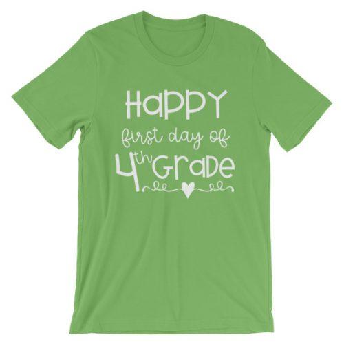 Leaf Green First Day of 4th Grade teacher tee