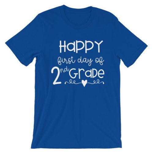 Royal Blue First Day of 2nd Grade teacher tee