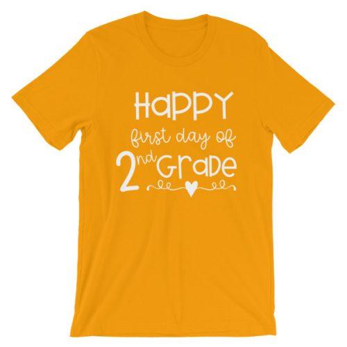 Gold First Day of 2nd Grade teacher tee