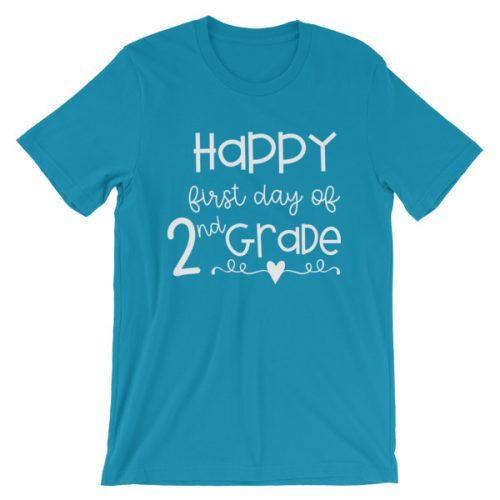 Aqua First Day of 2nd Grade teacher tee