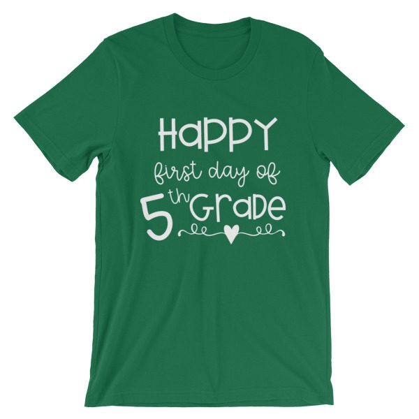 Kelly green First Day of 5th Grade tee