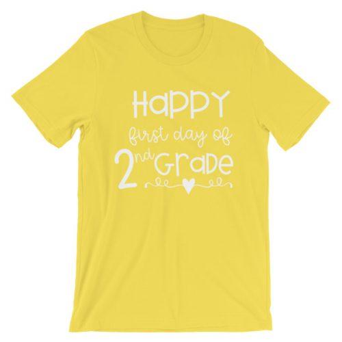 Yellow First Day of 2nd Grade teacher tee