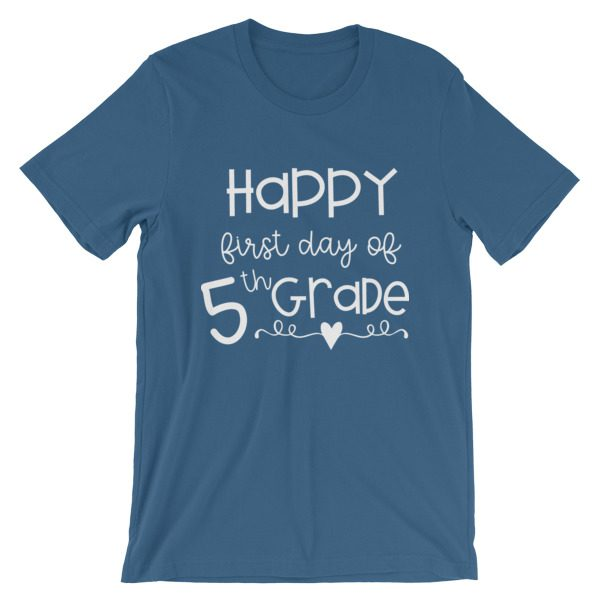 Steel blue First Day of 5th Grade tee