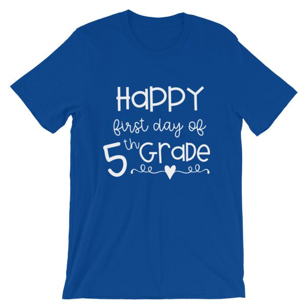 Royal blue First Day of 5th Grade tee