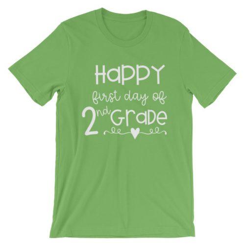 Leaf Green First Day of 2nd Grade teacher tee