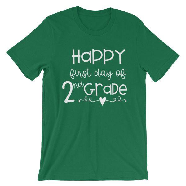 Kelly Green First Day of 2nd Grade teacher tee